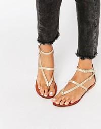 Кожаные сандалии ASOS FORCEFUL - Золотистое шампанское