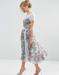 Платье миди для выпускного с цветочным принтом ASOS SALON - Синий