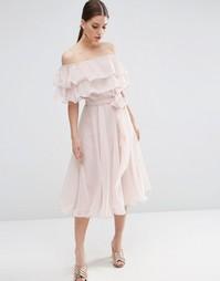 Платье миди для выпускного с оборками и открытыми плечами ASOS Bardot