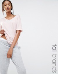 Меланжевая футболка с V‑образным вырезом Missguided Tall - Роза