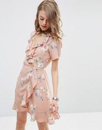 Чайное платье с запахом, оборкой и цветочным принтом ASOS