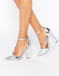 Туфли на каблуке с острым носком ASOS PENALTY - Серебряный