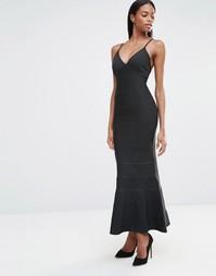 Missguided Premium Bandage Strappy Plunge Bandage Maxi Dress - Черный