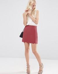 Мини юбка‑трапеция с фигурным краем ASOS - Темно-ягодный