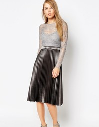 Body Frock Letitia Metallic Pleat Dress - Серебряный
