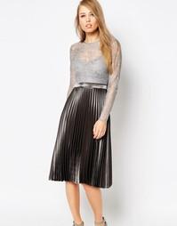 Body Frock Letitia Metallic Pleat Dress - Серебряный