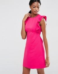 Цельнокройное платье-трапеция с оборкой ASOS - Розовый