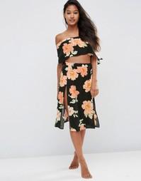 Пляжная юбка миди с принтом ASOS - Принт с цветами