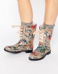 Резиновые сапоги в цветочек на шнуровке Glamorous - Цветочный рисунок