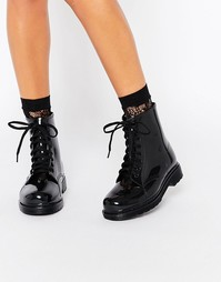 Glamorous Lace Up Wellington Boots - Черный