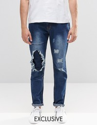Узкие потертые джинсы цвета индиго с заплатками Liquor & Poker