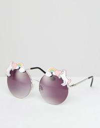 Круглые металлические солнцезащитные очки с единорогами ASOS