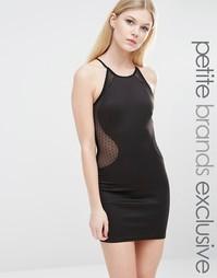 Платье-футляр с высокой горловиной и сеточкой в горошек TFNC Petite