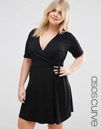Чайное платье с запахом ASOS CURVE - Черный