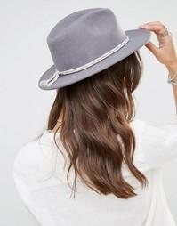 Фетровая шляпа с контрастной хлопковой лентой Brixton - Светло-серый