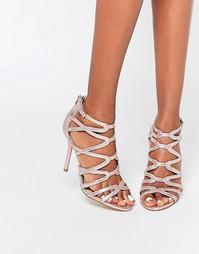 Золотистые босоножки на каблуке с ремешками Head Over Heels By Dune Me