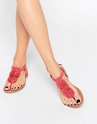 Сандалии кораллового цвета с помпонами Daisy Street - Coral pink