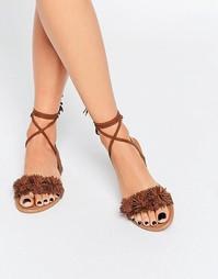 Светло-коричневые сандалии с помпонами Daisy Street - Рыжий