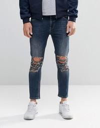 Синие укороченные рваные джинсы скинни ASOS - Умеренный синий