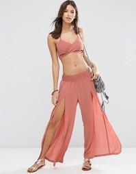 Пляжные брюки с разрезом ASOS - Терракотово-оранжевый
