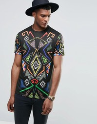 Jaded London T-Shirt With All Over Kaleidoscope Print - Черный