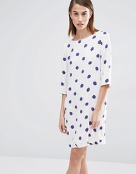 Selected Fria Spot Print 3/4 Sleeve Dress - Принт в синий горошек