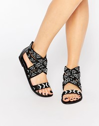 Boohoo Beaded Leather Sandal - Черный