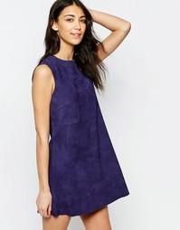 Замшевое цельнокройное платье мини Muubaa Anstey - Лазурно-голубой