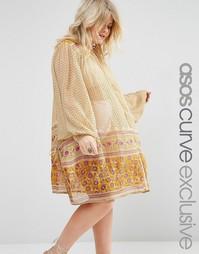 Свободное платье на пуговицах с принтом пейсли ASOS CURVE - Принт