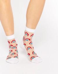 Прозрачные носки с блестками и радужным дизайном ASOS - Белый