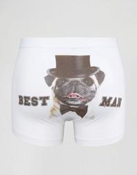 Боксеры-брифы с принтом Best Man ASOS - Белый