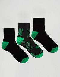 Набор из 3 пар носков с принтом кактусов ASOS - Черный