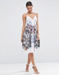 Платье для выпускного длиной миди с цветочным принтом ASOS - Мульти