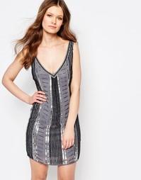 Цельнокройное платье с пайетками Maya Petite - Серо-коричневый