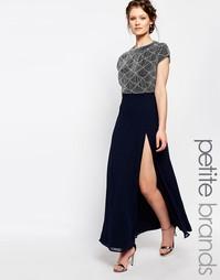 Платье макси с открытой спинкой Maya Petite - Темно-синий
