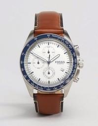 Часы с хронографом и коричневым кожаным ремешком Fossil CH3029 - Рыжий