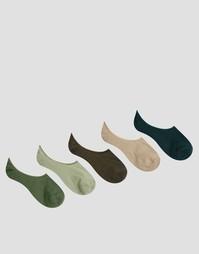 Комплект из 5 пар носков цвета хаки ASOS - Зеленый