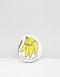 Кошелек для монет с принтом бананов Monki - Черный
