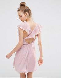 Платье мини с глубоким вырезом и оборками ASOS - Розовый