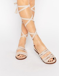 Public Desire Maddison Beige Tassel Wrap Flat Sandals - Телесный