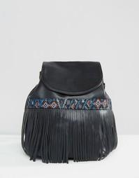 Рюкзак с гобеленовой отделкой и бахромой Glamorous - Черный