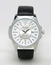 Часы с серебристым циферблатом и черным кожаным ремешком Reclaimed Vin