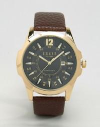 Часы с золотистым корпусом и коричневым кожаным ремешком Reclaimed Vin