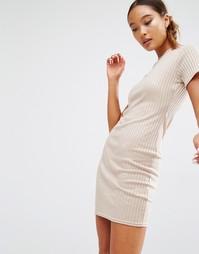 Облегающее платье-футболка в рубчик Daisy Street - Телесный