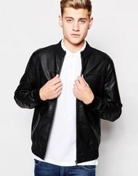 Байкерская куртка из искусственной кожи Jack & Jones - Черный