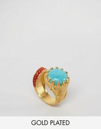 Броское кольцо с бирюзовым и красным камнями Ottoman Hands - Золотой