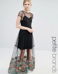 Платье макси с вышивкой Boohoo Petite - Черный