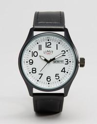 Часы с черным кожаным ремешком и белым циферблатом Limit - Черный