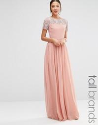 Плиссированное платье макси с искусственным жемчугом Maya Tall