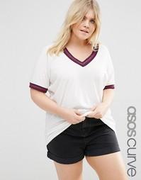 Oversize-футболка с отделкой металлик ASOS CURVE - Белый